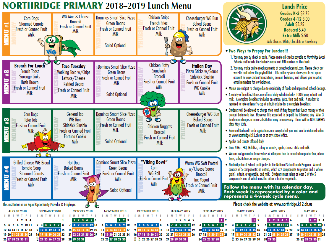 Primary Lunch Menu